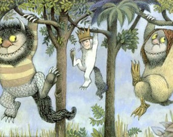Where the Wild Things are book paper banner • baby shower • nursery decor • eco repurposed • wild one birthday theme