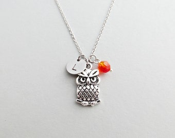 Owl Initial Necklace Personalized Hand Stamped - with Silver Owl Charm and Custom Bead