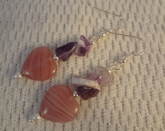 Purple Heart and Birthstone Amethyst Chip Handmade Dangle Earrings - Mallory F077