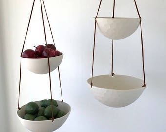 Large Hanging Fruit Basket, Two Tiered Porcelain and Leather