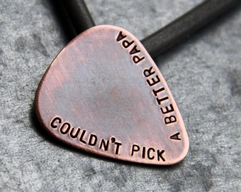 Custom Guitar Pick in Handstamped Copper - Perfect Father's Day Gift for Dad, Husband, or Grandpa