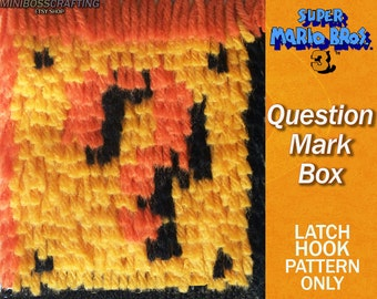 Super Mario: Question Mark Box Pattern - PDF and Image Instructions in 3 sizes