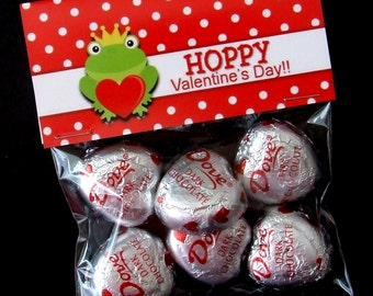 INSTANT DOWNLOAD - Printable Valentine Treat Bag Toppers  -  Hoppy Valentine's Day - Froggy