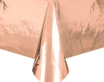 Metallic Rose Gold Tablecover/ Shiny Rose Disposable Table Cover/ Rose Gold Cake Table Cover/ Rose Gold Party Supplies/ Rose Gold Tablecover