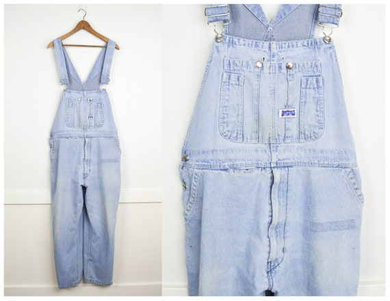 Vintage Oversized Overalls 32, Vintage Clothing, 90s Clothing, Festival, Tie Dye Acid Wash Bleached Jeans, Baggy Jeans, Carpenter Overalls