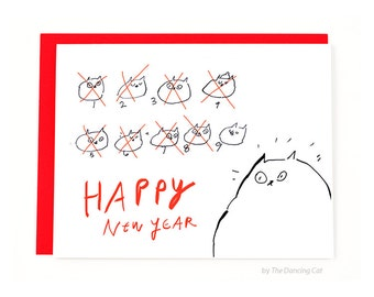 Funny Happy New Year Card - 9 Lives - Cat New Years Card