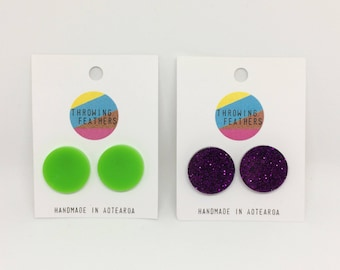 Large Dolly stud acrylic earrings - choose your colour