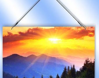 Mountain Sunrise Decorative Window Sun Catcher from Redeye Laserworks