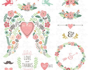 """Wedding Clipart pack""""WEDDING FLORA WING""""clip art,Vintage Flowers,Floral Frame,Wreath,Wedding,Save the date,invitation,Instant Download Wd101"""