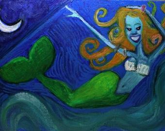 Mermaid Moon* 5 x 7 Acrylic Painting Ocean Art