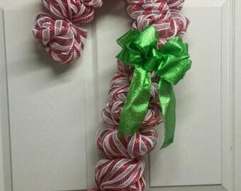 Candy Cane Wreath, Candy Cane Mesh Wreath, Christmas Wreath, Winter Wreath, Christmas Mesh Wreath, Front Door Wreath, Candy Cane