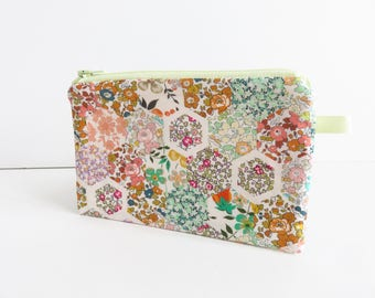 Liberty Lawn 'Patchwork Stories C' Fabric palm zippered purse