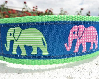 """Wide Dog Collar 1.5"""" width Polka Dot Elephants Quick Release or Martingale collar adjustable - S - XXL sizes - detailed info within"""