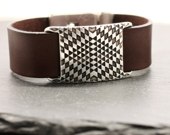 Leather Bracelet Psychedelic Bracelet Leather Bangle Silver Bracelet Mens Bracelet Statement Bracelet Silver Cuff Leather Cuff Under 50