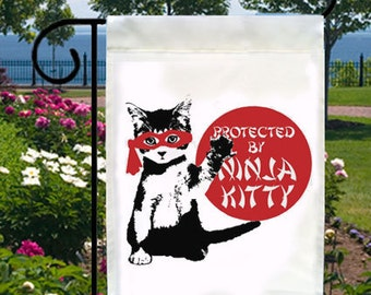 Protected By Ninja Kitty New Small Garden Flag, Cats, Fun For Home, Business, Boat