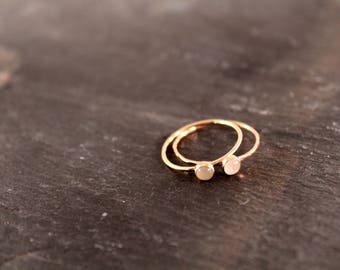 14K SOLID ROSE GOLD Birthstone Ring - One Ring (Hammered Smooth Band Wedding Engagement Personalized Custom Gemstone Stacking Ring)