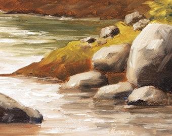 "River boulders, 5"" x 8"", Original Oil Painting on Canvas"