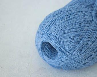 Haapsalu shawl yarn, Cobweb light blue color merino wool yarn - lace knitting yarn