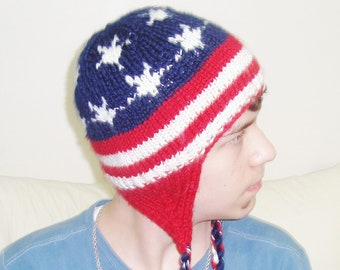Knit American Flag Hat with earflap hand knitted US flag hat American birthday gift