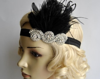 The Great Gatsby,20's flapper Headpiece, Vintage Inspired, Bridal 1920s Headpiece ,1930's, Rhinestone headband bridesmaid flapper headpiece