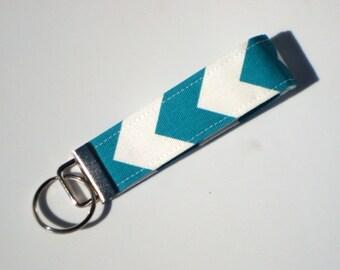 Wristlet Key Fob / Key Chain -Chevron /Turquoise