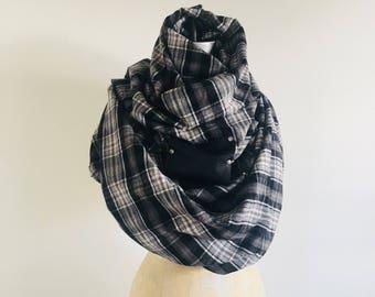 Sale Scarf Black plaid blanket scarf flannel leather Shawl, Wrap, soft , Large, gray