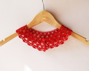 Red crochet collar crochet necklace red Peter Pan collar Detachable collar Red Lace collar Crochet Jewelry Women accessory gift for her