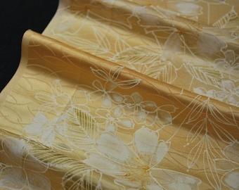"13.8""w. x 47.2""l. Japanese vintage silk kimono fabric flower in sherbet orange color 3168C"