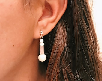 Rose Quartz and Mother of Pearl Earrings