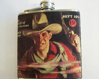 retro cowboy flask vintage 1950s western kitsch rockabilly beefcake pulp fiction
