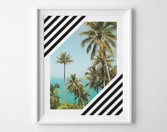 Modern Stripes Palm Beach Poster, Summer Outdoors Beach House Decor, Palm Tree Photography Surf Art, Black Green Blue Palm Frond Ocean Print