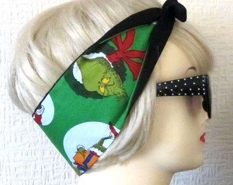 The Grinch Hair Tie Christmas Print Rockabilly Head Scarf by Dolly Cool, Holidays, Xmas, Dr Seuss