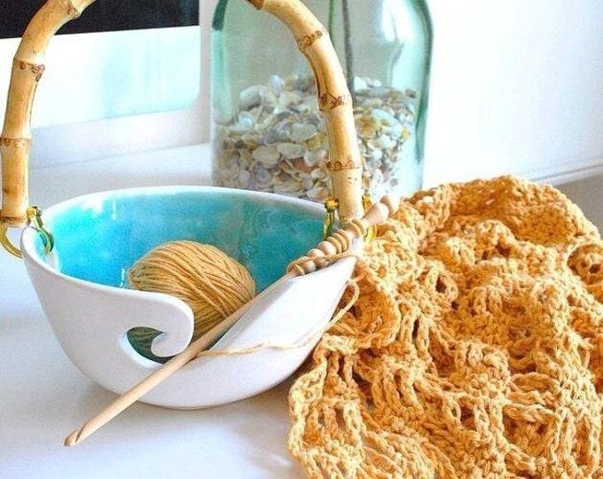 Portable Handle Yarn Bowl Turquoise and White Porcelain Pottery Yarn Keeper Yarn Feeder Knitting Bowl Stunning Medium  MADE TO ORDER