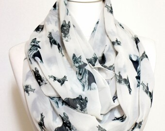 German Shepherd Pattern Infinity scarf, Circle Scarf, Loop Scarf, Scarves, Shawls, Spring - Fall - Winter - Summer fashion
