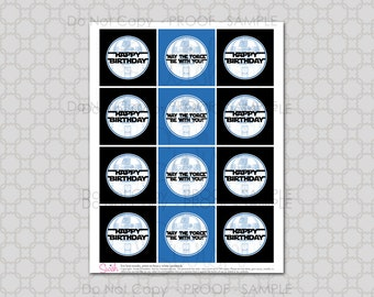 Robot theme - Space Party  Birthday Cupcake toppers -  Digital Printable DIY INSTANT DOWNLOAD