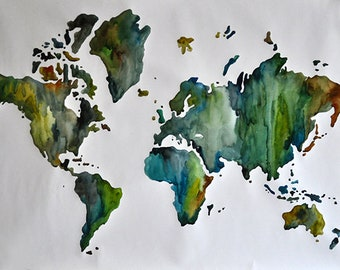 Original Watercolor Painting, Large Green World Map Painting 28x39 Inch