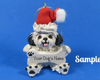 White with Black Shih Tzu Santa Dog with Bone Christmas Holidays Ornament Sallys Bits of Clay PERSONALIZED FREE