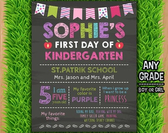 First Day of School Chalkboard Sign - First Day of School Printable Sign Photo Prop - Purple Back to School Girl ANY GRADE Any Age
