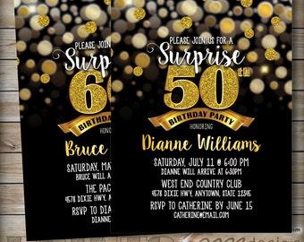 "Surprise Birthday Party Invitation Black & Gold Invite, 30th 40th 50th 60th 70th Birthday Invite, Gold Glitter 5x7"" Digital Printable File"