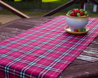Plaid Table Runner, Handmade Dining Supplies, Rustic Country Style, Dark  Red Table Cloth, Home Textiles