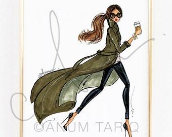 Fashion Illustration Print, Trench