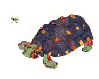 Matted Turtle Art Print - Tortoise Art - Animal Art print - Reptile art - 13x19 or 8.5x11 - Open Edition