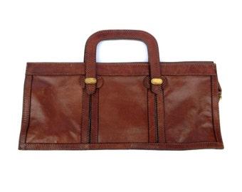 70's Leather Handbag. Brown Leather Handbag. Top Handle Leather Bag. Vintage Brown Leather Bag. Leather Bags. Handbags. Top Handle Bag