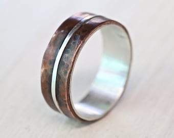 Men's silver copper wedding band , copper engagement ring, rustic wedding ring, hand made copper band, Studioadama, copper ring