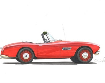 1967 BMW 507 Classic BMW Vintage Convertable Car Drawing BMW Red 507 1967