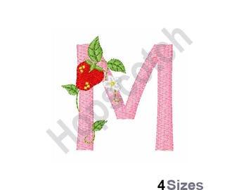 Letter M - Machine Embroidery Design, Strawberry