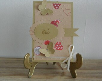 Wedding card - Wedding congratulations - card Valentine's day - Yes, butterflies and heart