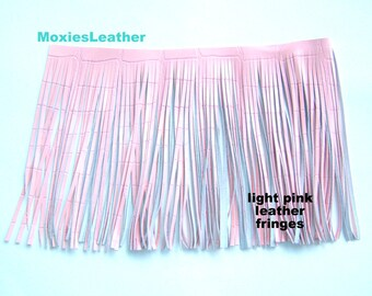 long wide pink leather fringes 24 inches wide leather fringe - 9 inches long fringe
