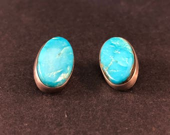 Vintage Oval Sterling Silver Earrings with a Turquoise Stone