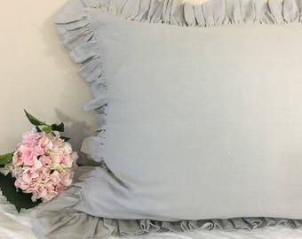 Stone Grey Ruffle pillow covers, Stone Grey Pillow Case, Linen Ruffle Pillow Sham, Linen Ruffle Euro Sham in Stone Grey Linen